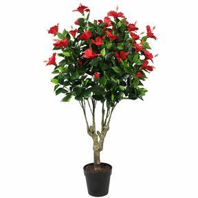 Konstgjord röd hibiskus 135 cm