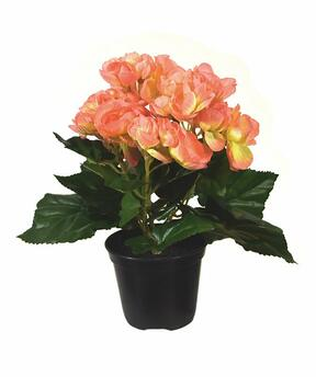 Konstgjord växt Begonia apelsin 20 cm
