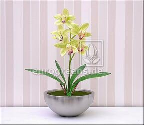 Konstgjord växt Orchidea Cymbidium ljusgrön 50 cm