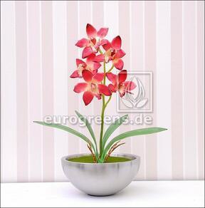 Konstgjord växt Orchidea Cymbidium vinröd 50 cm